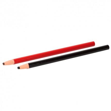 Blister de 2 crayons gras à tracer de couleur Noir et Rouge - 11200117 - Sidamo