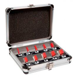 Coffret de 10 mèches de défonceuse droites à rainurer Q. 8 mm x D.6 à 25 mm - 600010 - Sidamo