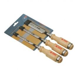 Assortiment de 3 ciseaux de menuisier 10 12 et 16 mm manche bois 655-M - UR-5110655 - Urko