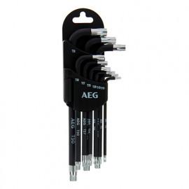 Set de 9 clés étoile + support T10 - T15 - T20 - T25 - T27 - T30 - T40 - T45 - T50 - AEG