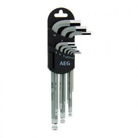 Set de 9 clés hexagonales 1,5 - 2 - 2,5 - 3 - 4 - 5 - 6 - 8 - 10 mm + support - AEG