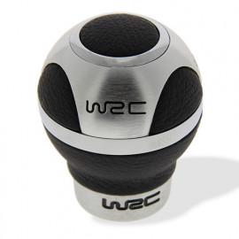 Pommeau de levier de vitesse 3 faces Alu - cuir noir - universel - WRC