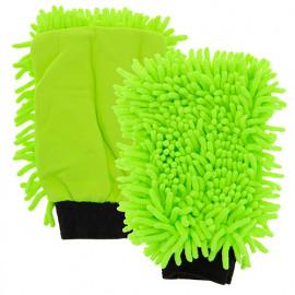 Gant de lavage chenillé vert - Carlinéa