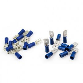 Assortiment de 20 cosses mâles + femelles - plates - bleues - XL Tech