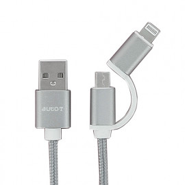 Câble plat 2 en 1 : micro-USB - IPhone 5 - 6 - Auto-T