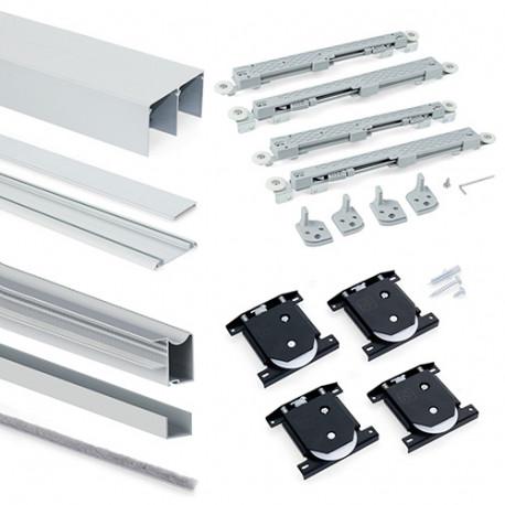 Kit armoire Placard 2 portes avec profils Wave16 et fermeture amortie