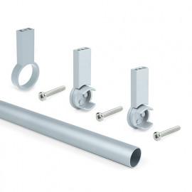 Kit de 2 barres penderie en aluminium D. 28 x 1400 mm et supports Keeper pour armoire finition couleur gris