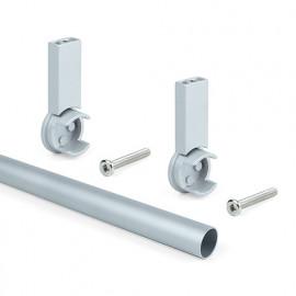Kit de 2 barres penderie en aluminium D. 28 x 950 mm et supports Keeper pour armoire finition couleur gris