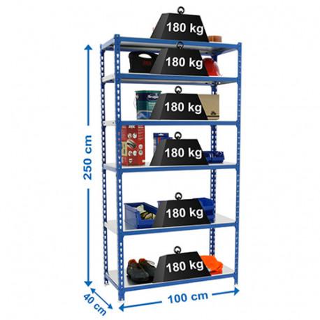 Étagère métallique 6 niveaux - 2500 x 1000 x 400 mm - KIT SIMONCLICK PLUS - Bleu - Galvanisé