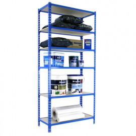 Étagère métallique 6 niveaux - 2500 x 900 x 400 mm - KIT MADERCLICK - Bleu - Bois