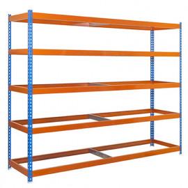 Étagère métallique 5 niveaux - 2000 x 1800 x 450 mm - KIT SIMONFORTE - Bleu - Orange