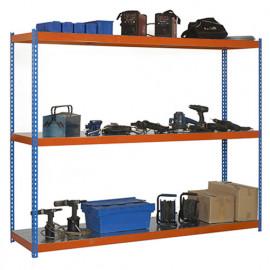 Étagère métallique 3 niveaux - 2000 x 1200 x 450 mm - KIT ECOFORTE - Bleu - Orange - Galvanisé