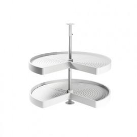 Jeu de 2 plateaux tournants module de cuisine, 270°, module 800 mm, plastique et aluminium, blanc