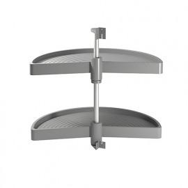 Jeu de 2 plateaux tournants module de cuisine, 180°, module 800 mm, plastique, gris