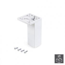 4 pieds pour meubles, coin, réglable 100 - 110 mm, Plastique, Blanc