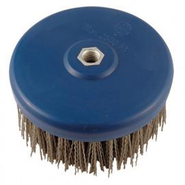 Lot de 2 brosses nylon D. 130 mm M14 pour meuleuse Gr. 60 pour polisseuse pour bois et métal - 150.125V - Leman