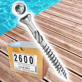 2600 vis terrasse 5x50 INOX A2 + 13 embouts offerts, tête fraisée reduite TORX 25