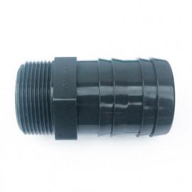 """Raccord PVC cannelé D. 50 mm et fileté 1"""" 1/2 - L. 89 mm"""