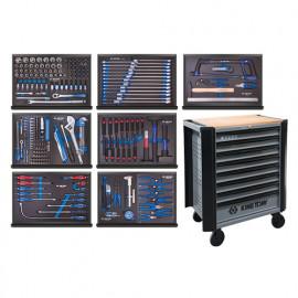 Servante d'atelier BUMPER RFS grise 8 tiroirs avec plateau en bois + 263 pcs