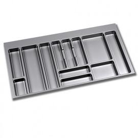Range-couverts pour tiroirs de cuisine - module 1 000 mm - Plastique - Gris