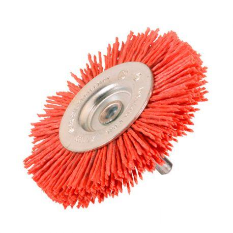 Brosse circulaire sur tige D.100 mm - Fils de 1,1 mm en nylon abrasif Gr 80 - 10314014