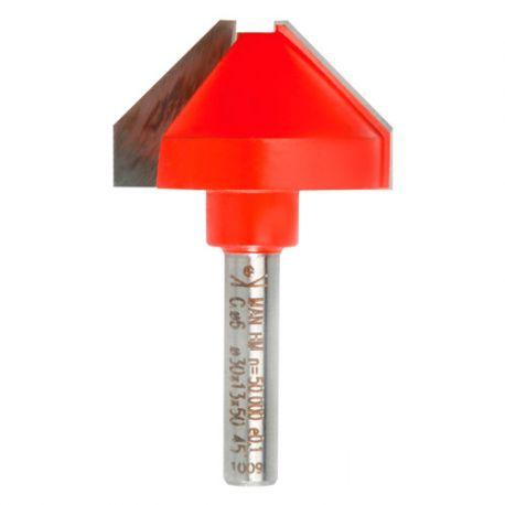 Mèche d'affleureuse chanfrein 45° Q. 6 x D. 30 x Lt. 50 mm - 631173