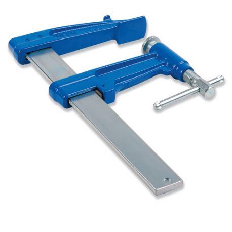 4 serre-joints à pompe 30 cm section 30 x 8 mm saillie de 90 mm et frein antiglissant