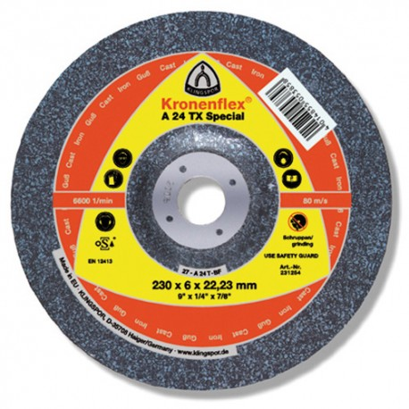 10 meules/disques à ébarber MD SPECIAL A 24 TX D. 125 x 6 x 22,23 mm - Fonte - 231251 - Klingspor