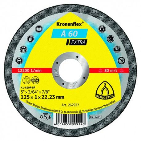 25 disques à tronçonner MP EXTRA A 60 EX D. 115 x 1 x 22,23 mm - Métal / Inox - 262936 - Klingspor