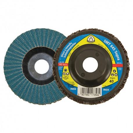 10 disques/plateaux à double lamelles zirconium SUPRA SMT 645 D. 115 x 22,23 mm Gr 40 - 278590 - Klingspor