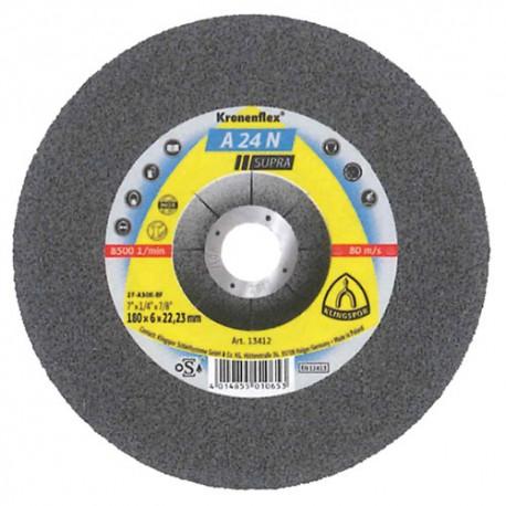 10 meules/disques à ébarber MD SUPRA A 24 N D. 125 x 6 x 22,23 mm - Acier inoxydable - 2922 - Klingspor