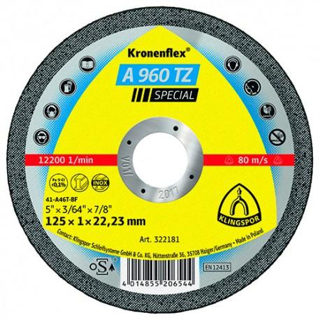 25 disques à tronçonner MP SPECIAL A 960 TZ D. 115 x 1 x 22,23 mm - Acier / Inox - 322180 - Klingspor