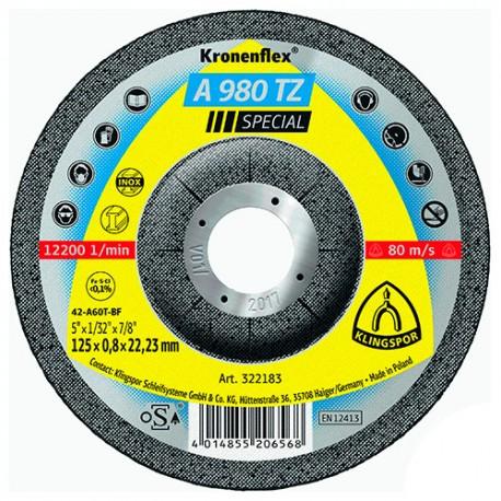 25 disques à tronçonner MD SPECIAL A 980 TZ D. 115 x 0,8 x 22,23 mm - Acier / Inox - 322182 - Klingspor