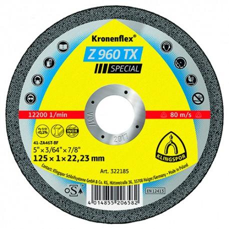 25 disques à tronçonner MP SPECIAL Z 960 TX D. 115 x 1 x 22,23 mm - Acier / Inox / Alliages / TiN - 322184 - Klingspor