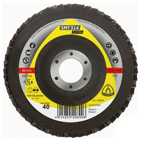 10 disques/plateaux convexes à lamelles corindon EXTRA SMT 314 D. 115 x 22,23 mm Gr 36 - 322808 - Klingspor