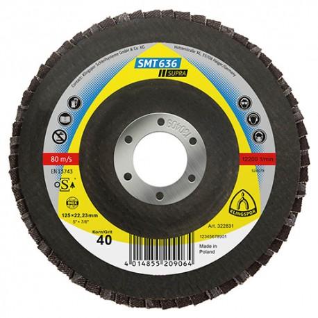 10 disques/plateaux convexes à lamelles zirconium SUPRA SMT 636 D. 115 x 22,23 mm Gr 40 - 322826 - Klingspor
