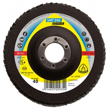 10 disques/plateaux convexes à lamelles céramique SPECIAL SMT 996 D. 115 x 22,23 mm Gr 40 - 322849 - Klingspor