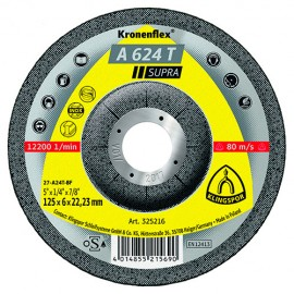 10 meules/disques à ébarber MD SUPRA A 624 T D. 115 x 6 x 22,23 mm - Acier inoxydable / Acier / Fonte - 325215 - Klingspor