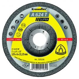 10 meules/disques à ébarber MD SUPRA A 624 T D. 230 x 6 x 22,23 mm - Acier inoxydable / Acier / Fonte - 325218 - Klingspor