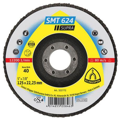 10 disques/plateaux convexes à lamelles zirconium SUPRA SMT 624 D. 180 x 22,23 mm Gr 120 - 322787