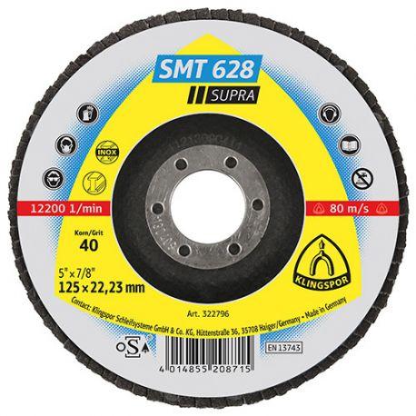 10 disques/plateaux plats à lamelles zirconium SUPRA SMT 628 D. 125 x 22,23 mm Gr 80 - 322799