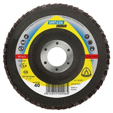 10 disques/plateaux convexes à lamelles zirconium SUPRA SMT 636 D. 125 x 22,23 mm Gr 60 - 322832