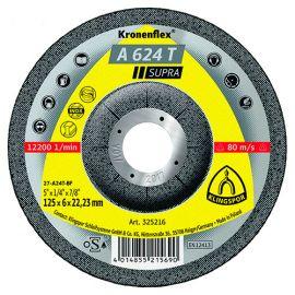 10 meules/disques à ébarber MD SUPRA A 624 T D. 125 x 6 x 22,23 mm - Acier inoxydable / Acier / Fonte - 325216