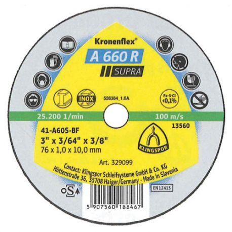 100 disques à tronçonner MP SUPRA A 660 R D. 76 x 1,6 x 10 mm - Acier - 329101