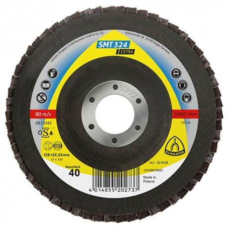 Disque/plateau convexe à lamelles zirconium EXTRA SMT 324 D. 125 x 22,23 mm Gr 60 - 321512 - Klingspor