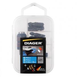Boîte de 21 pcs embouts L. 25 mm et porte-embouts de vissage - 646C - Diager - Diager