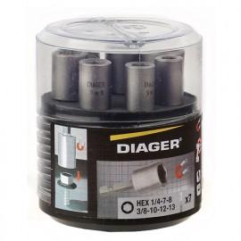 """Coffret 7 douilles magnétiques quick-lock 1 1/4"""" L. 50 mm - U602 - Diager - Diager"""
