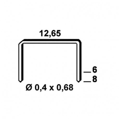 5 000 agrafes galvanisées ondulées VS-06 - 12,65 x 6 x D. 0,4 x 0,68 mm - 1003932 - Alsafix