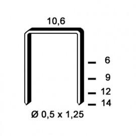 4 000 agrafes galvanisées PF-12 - 10,6 x 12 x D. 0,5 x 1,25 mm - 6PF121 - Alsafix