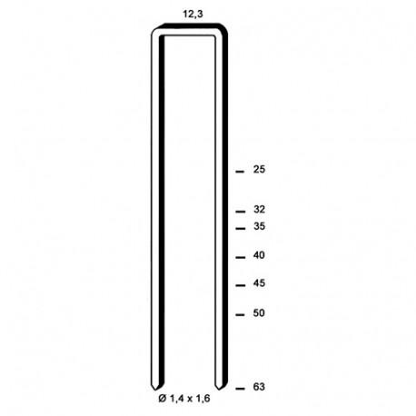 20 000 agrafes galvanisées S-25 - 12,3 x 25 x D. 1,4 x 1,6 mm - 6S-251 - Alsafix